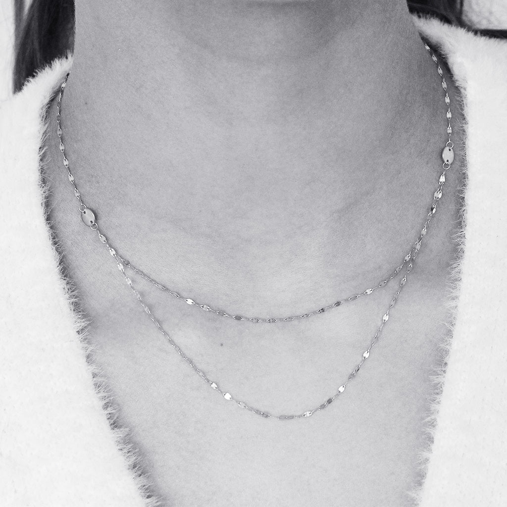GERRI STERLING SILVER DOUBLE CHAIN NECKLACE