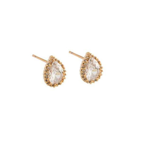 GIANNA CRYSTAL ROSE GOLD STUD EARRINGS