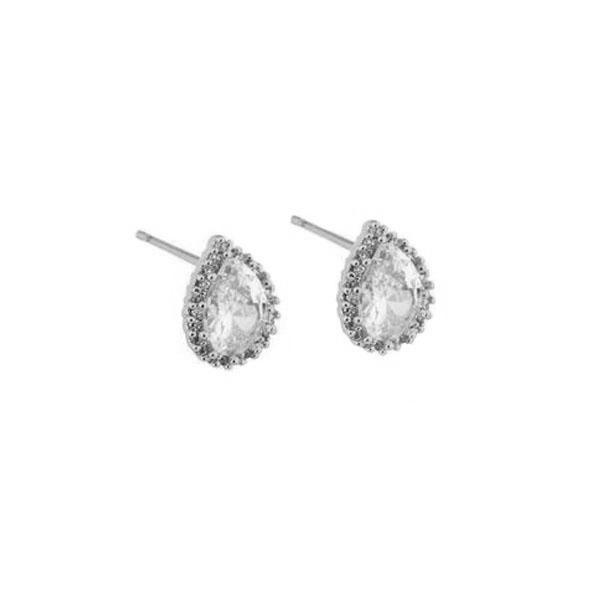 GIANNA CRYSTAL SILVER STUD EARRINGS