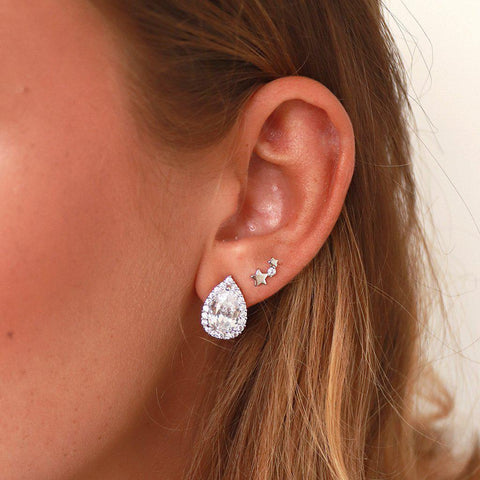 TWINKLING STAR CRYSTAL SILVER STUDS EARRINGS
