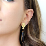 KARISSA GARNET GOLD EARRINGS
