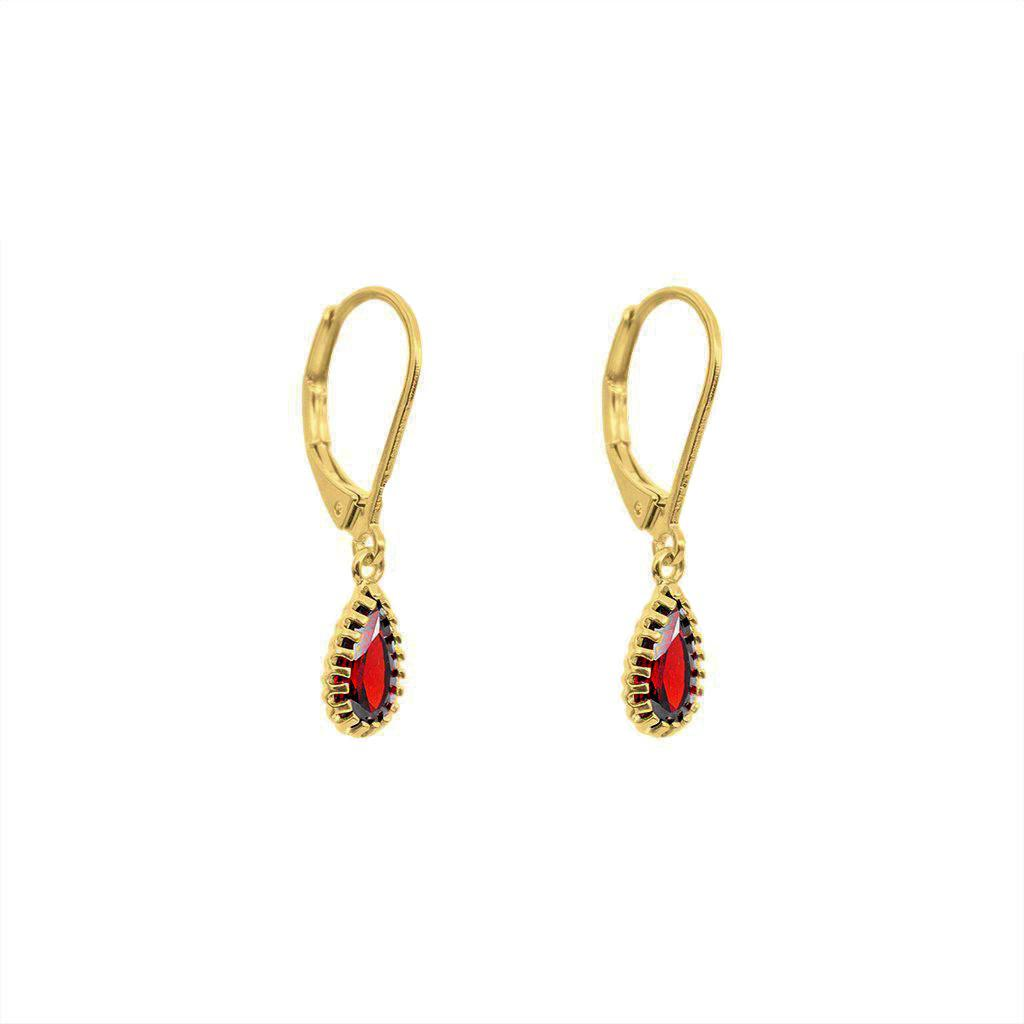 GOLD FILLED GARNET DROP EARRINGS