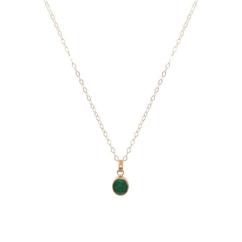 GREEN QUARTZ GOLD FILLED MEDIUM PENDANT-Necklaces-MEZI