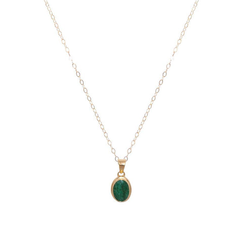 GREEN QUARTZ GOLD FILLED OVAL PENDANT-Necklaces-MEZI