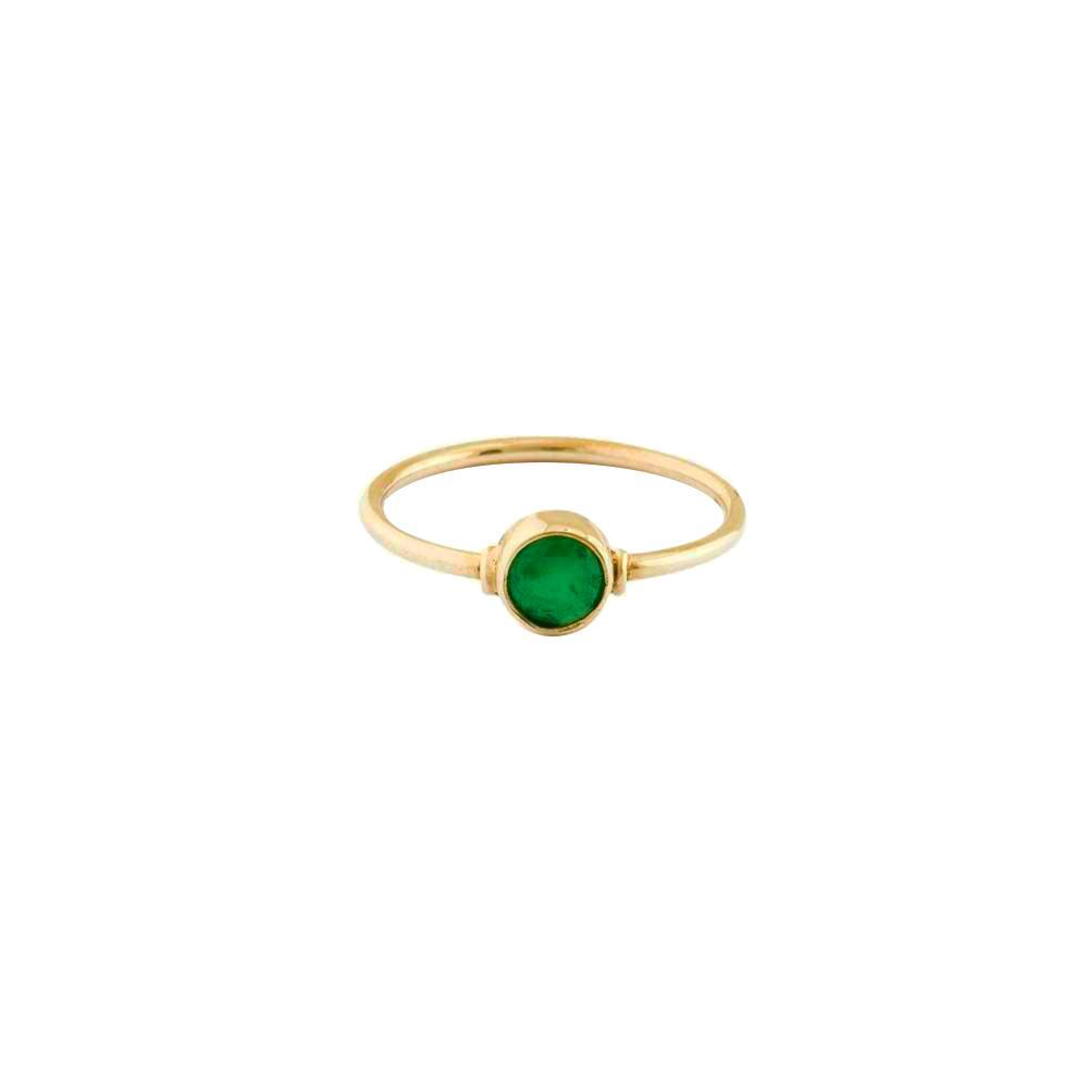 GREEN QUARTZ ROUND GOLD FILLED RING