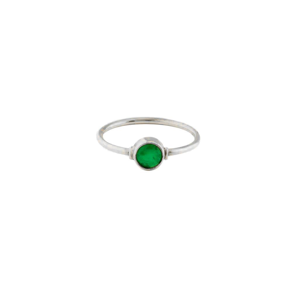 GREEN QUARTZ ROUND STERLING SILVER RING