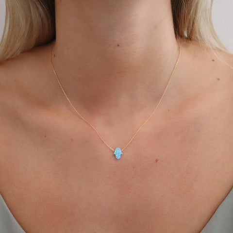HAMSA LARGE BLUE OPALITE NECKLACE