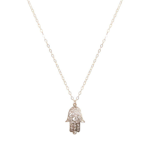HAMSA LARGE FILIGREE GOLD FILLED PENDANT-Necklaces-MEZI