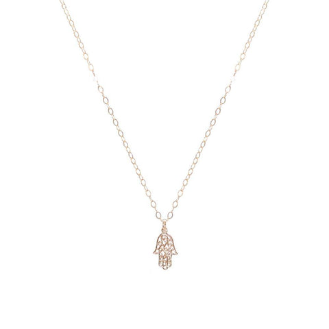 HAMSA SMALL FILIGREE GOLD FILLED PENDANT-Necklaces-MEZI