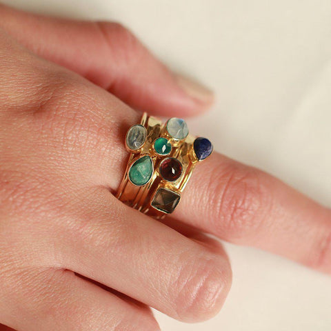 HANIA I GOLD FILLED SEMI PRECIOUS STONE LAYERED RING