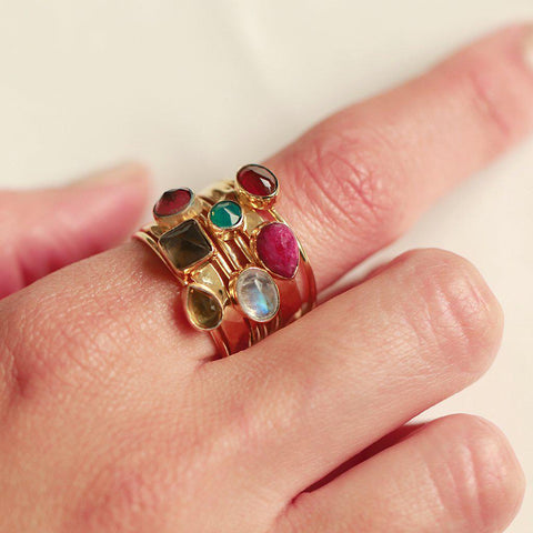 HANIA II GOLD FILLED SEMI PRECIOUS STONE LAYERED RING