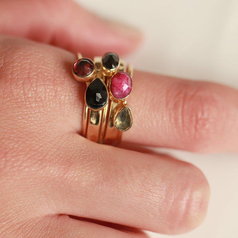 HANIA III GOLD FILLED SEMI PRECIOUS STONE LAYERED RING