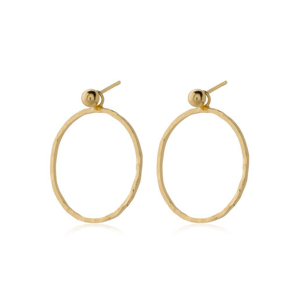 HARPER GOLD HOLLOW DROP EARRINGS-Earrings-MEZI