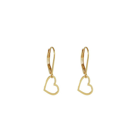 HEART HOLLOW DROP 2 MICRON GOLD EARRINGS