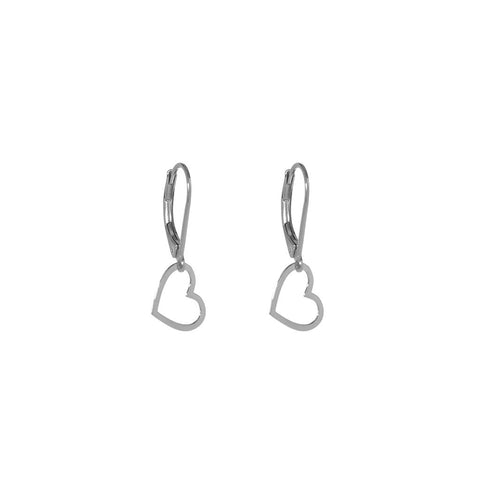 HEART HOLLOW DROP STERLING SILVER EARRINGS