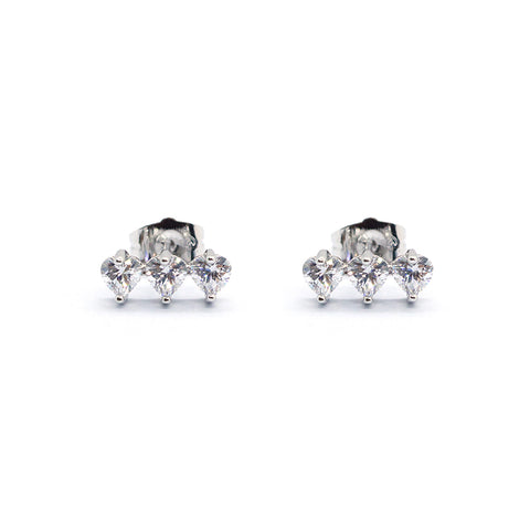 HEART THREE ROW CRYSTAL STUDS