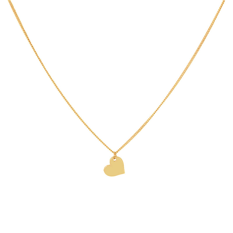 HEART FLAT PENDANT 2 MICRON GOLD NECKLACE