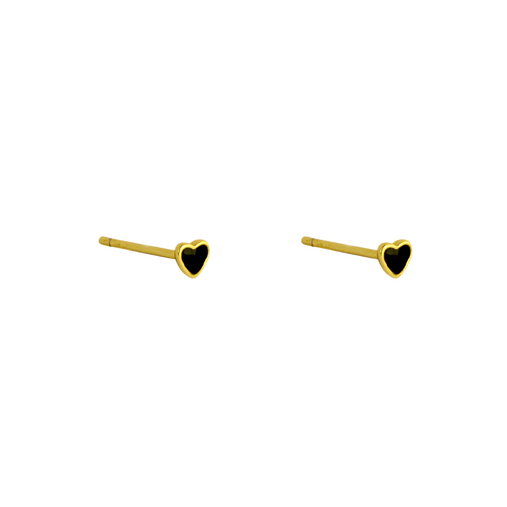 HEART SMALL ONYX GOLD STUDS