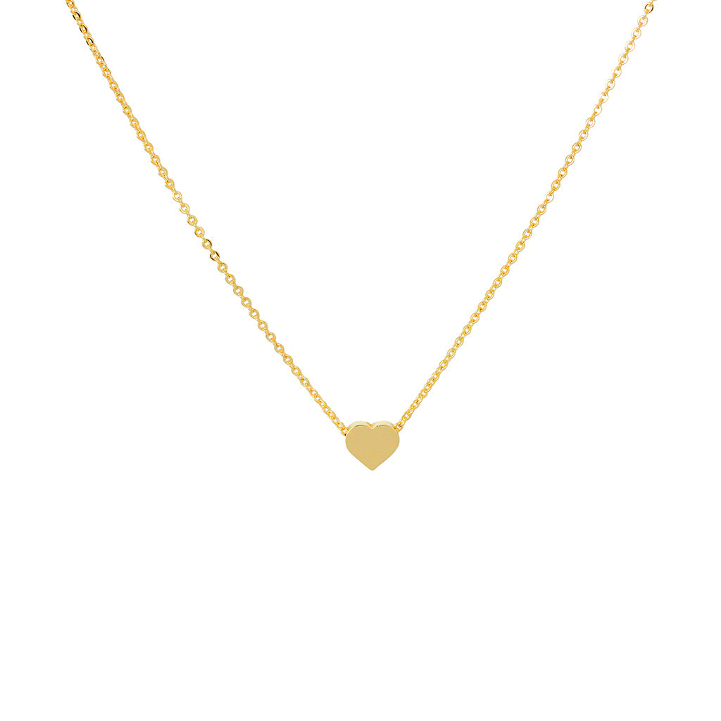 HEART SOLID PENDANT & CHAIN 2 MICRON GOLD NECKLACE