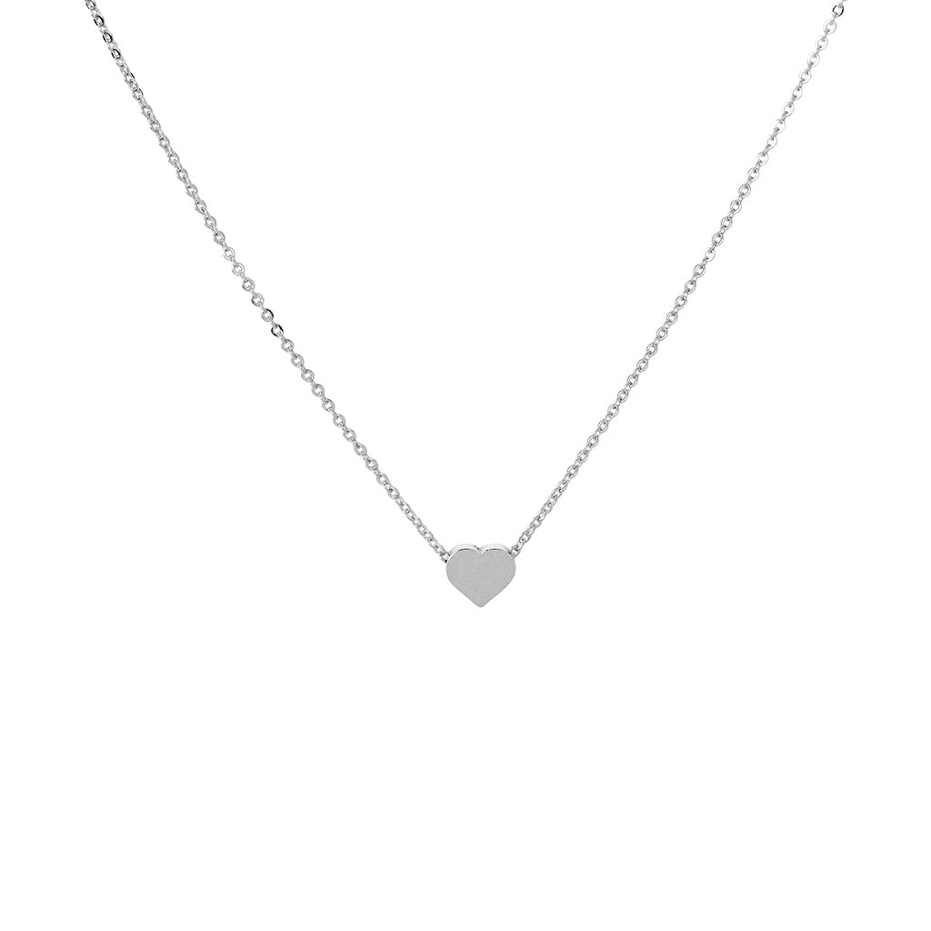 HEART SILVER SOLID PENDANT NECKLACE