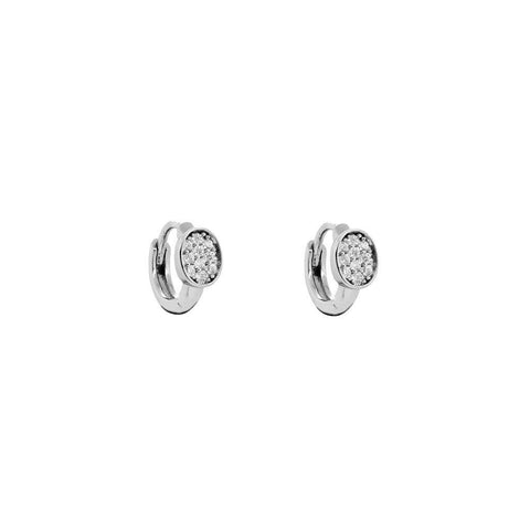 HEDIA CRYSTAL OVAL RHODIUM PLATED HUGGIES