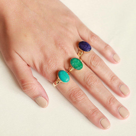 HELMA GOLD FILLED LAPIS SEMI-PRECIOUS RING