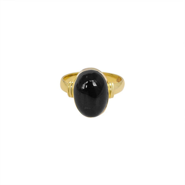 HELMA GOLD FILLED ONYX SEMI-PRECIOUS RING