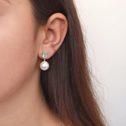 HENRI PEARL AND AQUA CRYSTAL EARRINGS