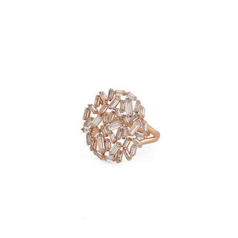 HERA ROSE GOLD CRYSTAL RING-Rings-MEZI