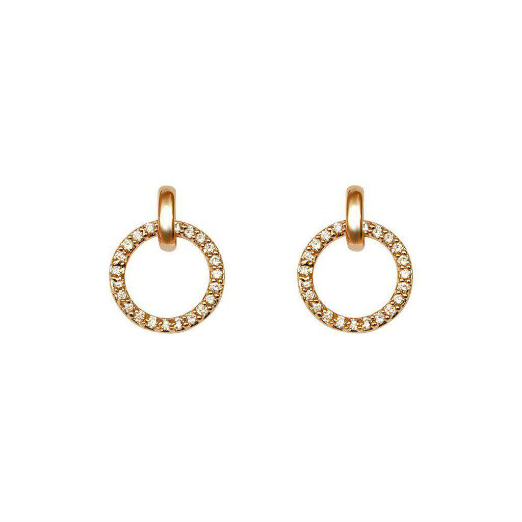 HOLLOW CIRCLE CRYSTALS ROSE GOLD EARRINGS