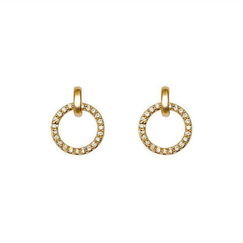 HOLLOW CIRCLE CRYSTALS GOLD EARRINGS