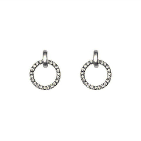 HOLLOW CIRCLE CRYSTALS SILVER EARRINGS
