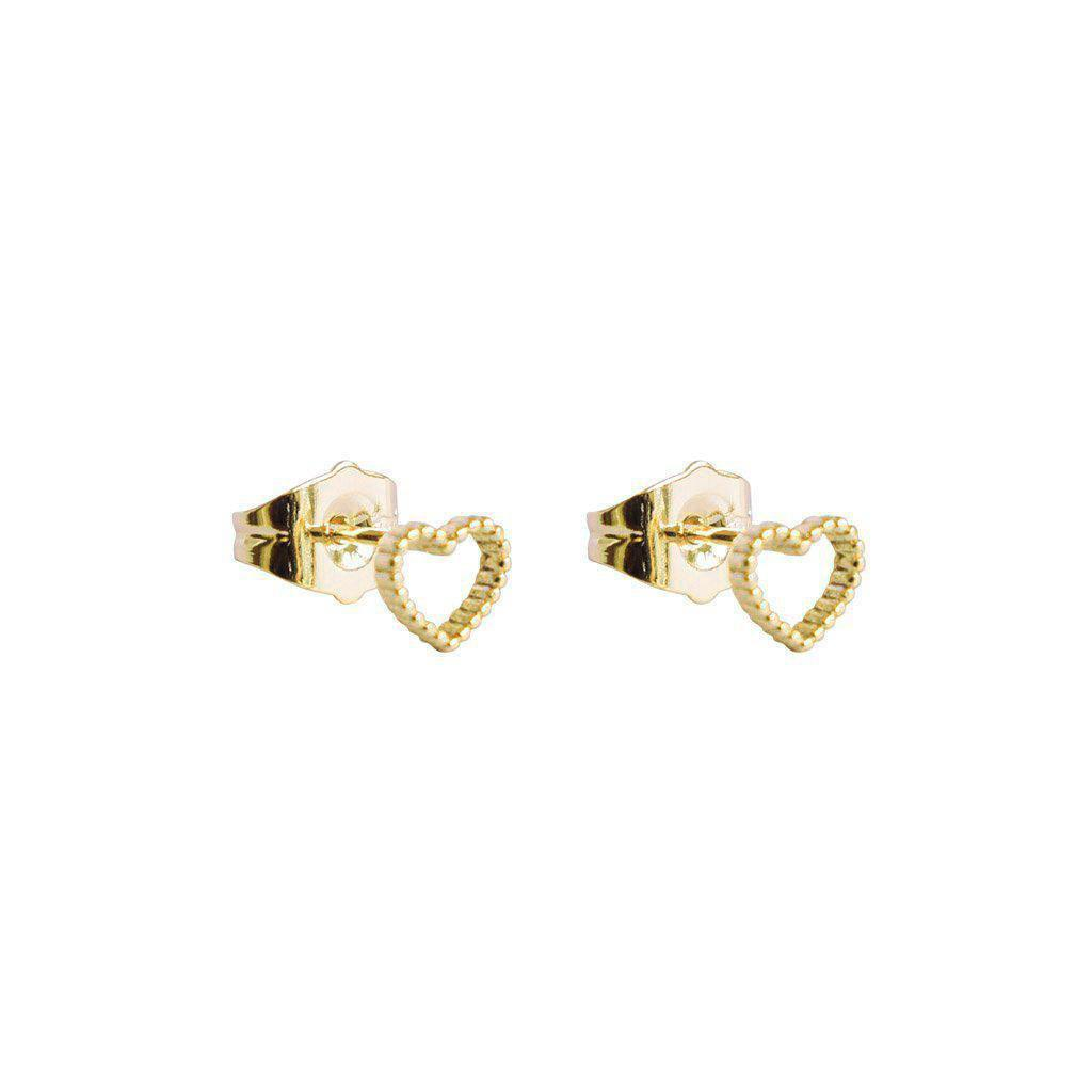 HOLLOW HEART GOLD STUDS