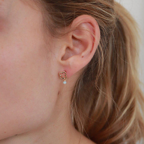 HOLLOW CLOVER DROP GOLD STUDS