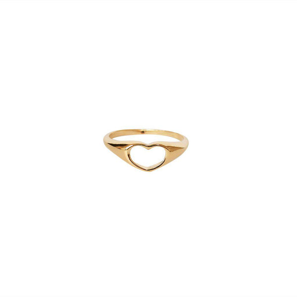 HOLLOW HEART 2 MICRON GOLD RING