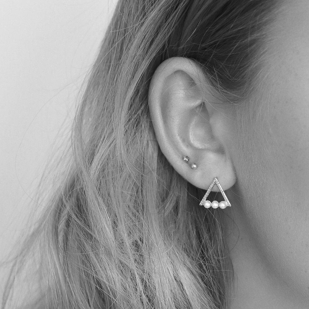 HOLLOW TRIANGLE WHITE PEARL SILVER STUDS EARRINGS