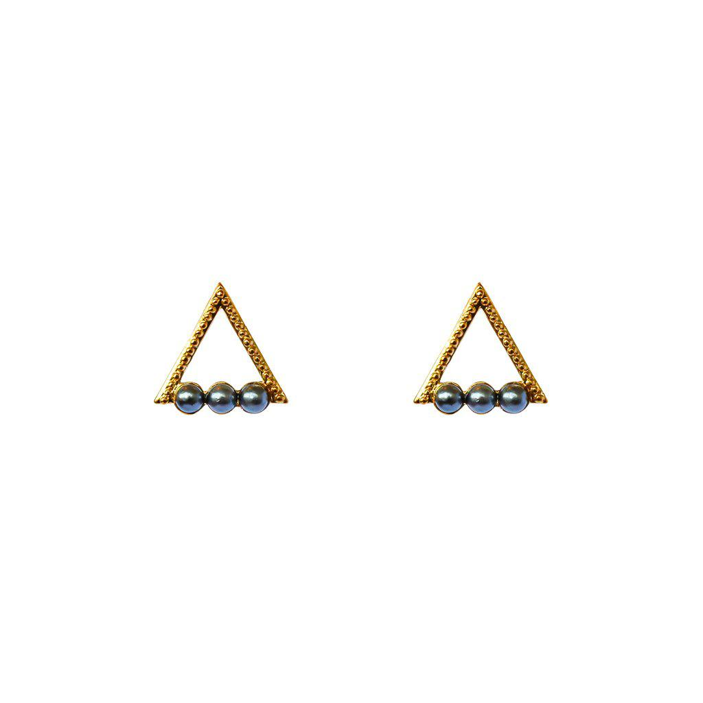 HOLLOW TRIANGLE BLACK PEARL GOLD STUDS EARRINGS