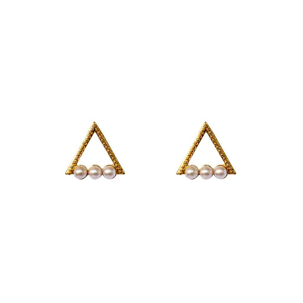 HOLLOW TRIANGLE WHITE PEARL GOLD STUDS EARRINGS