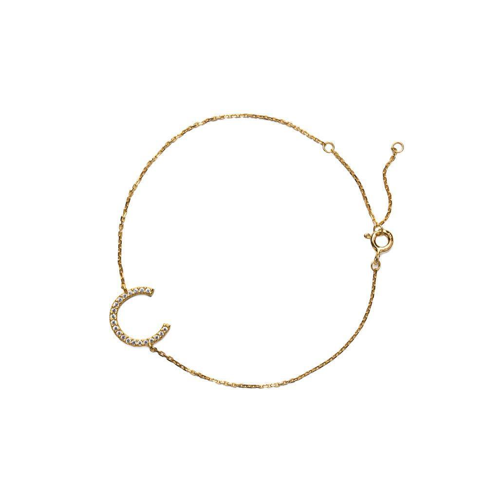 HORSE SHOE CRYSTAL GOLD BRACELET