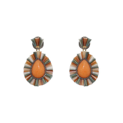 IMANI ORANGE DROP EARRINGS-Earrings-MEZI