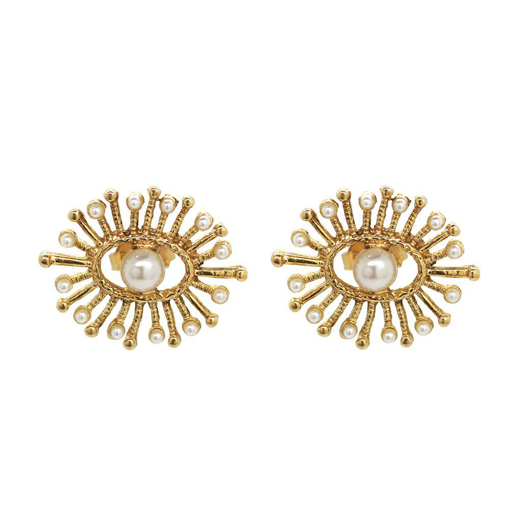 IMANI ANTIQUE GOLD & PEARL STUD EARRINGS