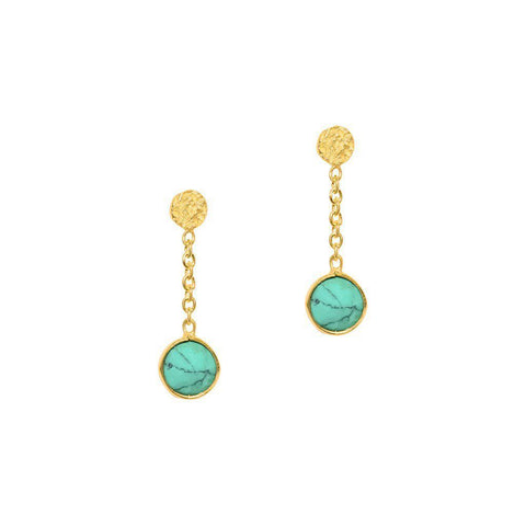 IMELDA TURQUOISE GOLD SEMI PRECIOUS STONE EARRINGS
