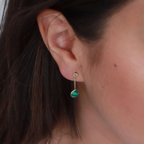 IMELDA MALACHITE GOLD SEMI PRECIOUS STONE EARRINGS