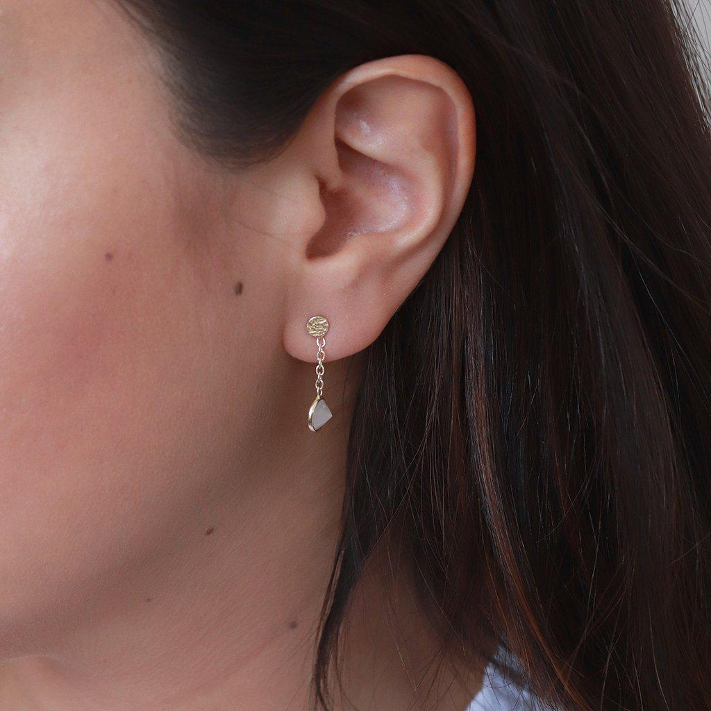 IMELDA MOONSTONE GOLD SEMI PRECIOUS STONE EARRINGS