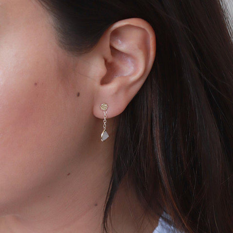 IMELDA CLEAR QUARTZ GOLD SEMI PRECIOUS STONE EARRINGS