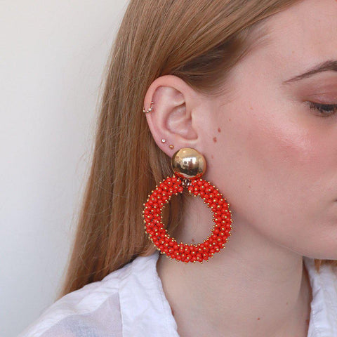 INEMA CORAL GOLD EARRINGS