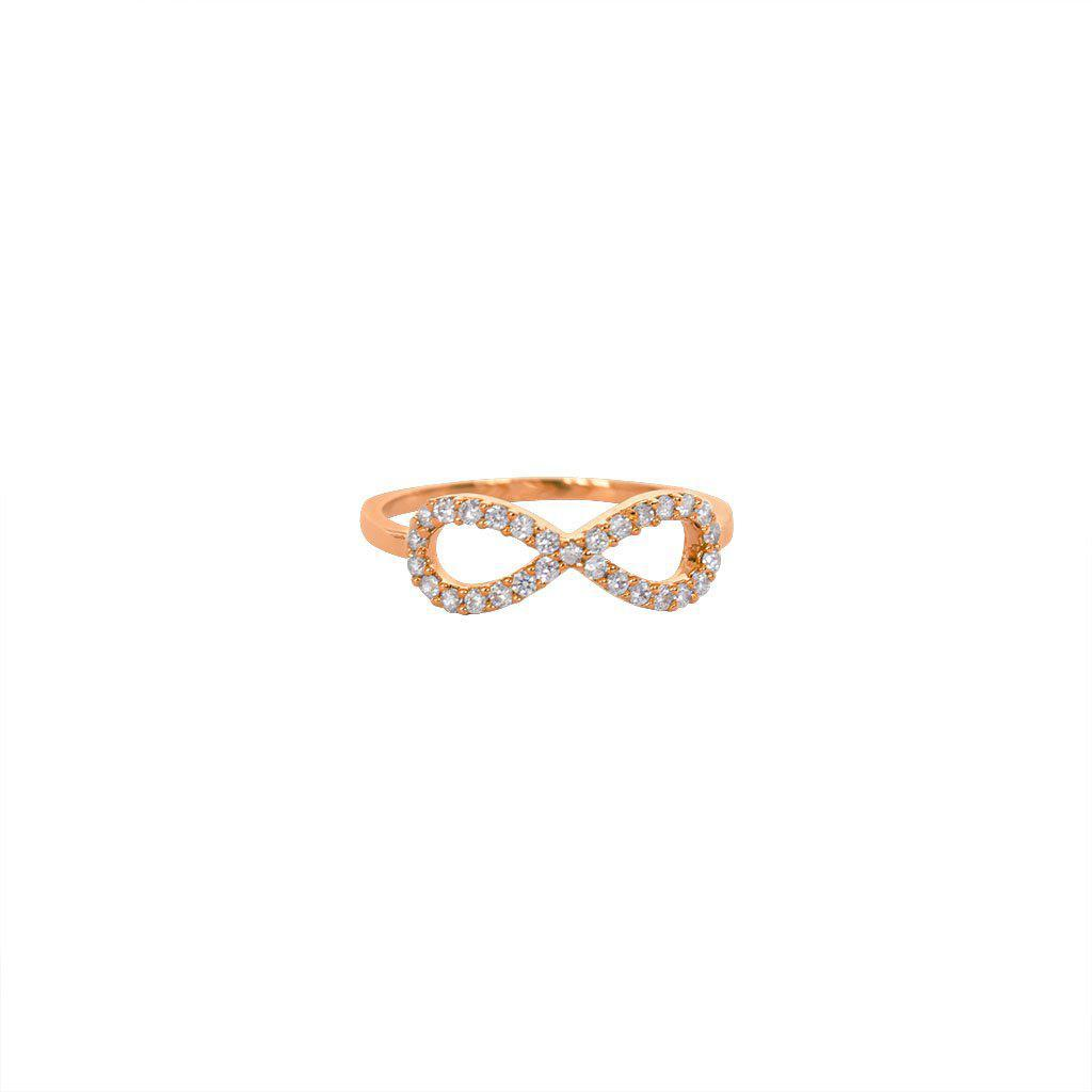 INFINITY CRYSTAL ROSE GOLD RING