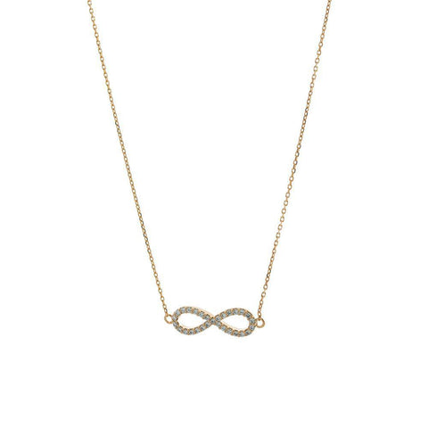 INFINITY ROSE GOLD CRYSTAL NECKLACE-Necklaces-MEZI