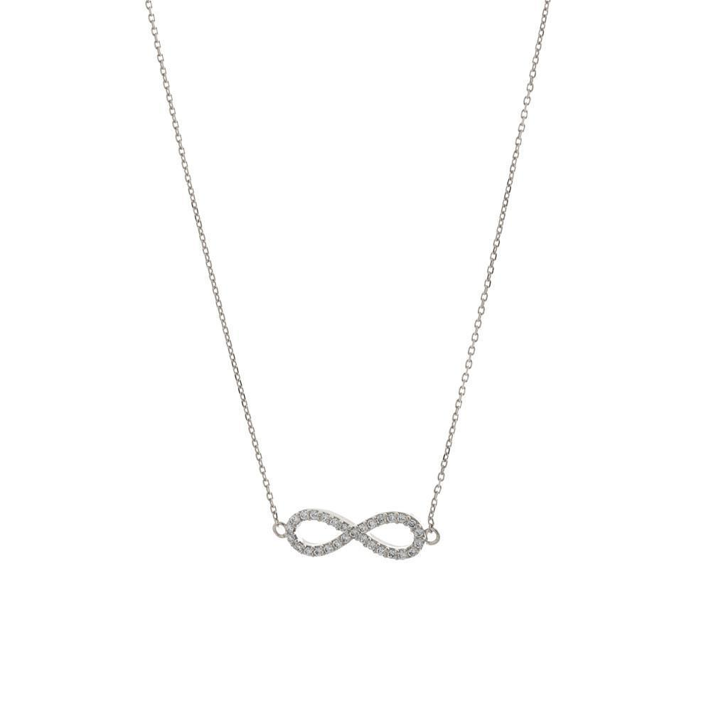 INFINITY SILVER CRYSTAL NECKLACE-Necklaces-MEZI