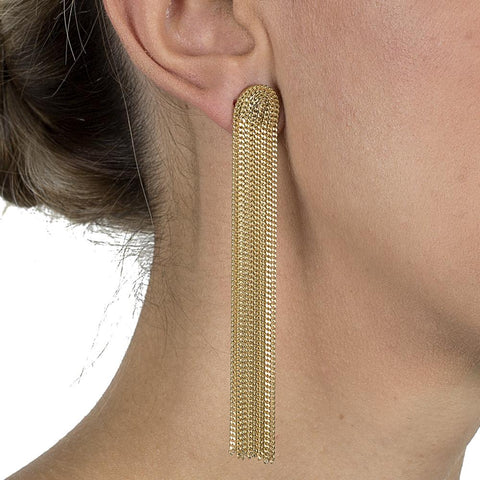 INGI GOLD METAL TASSEL LONG EARRINGS-Earrings-MEZI